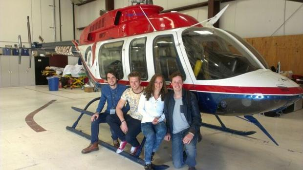 Students go on a helicopter ride with Flagstaff's Medevac team