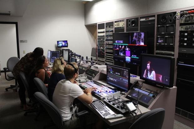 Students do their final run through in the control room