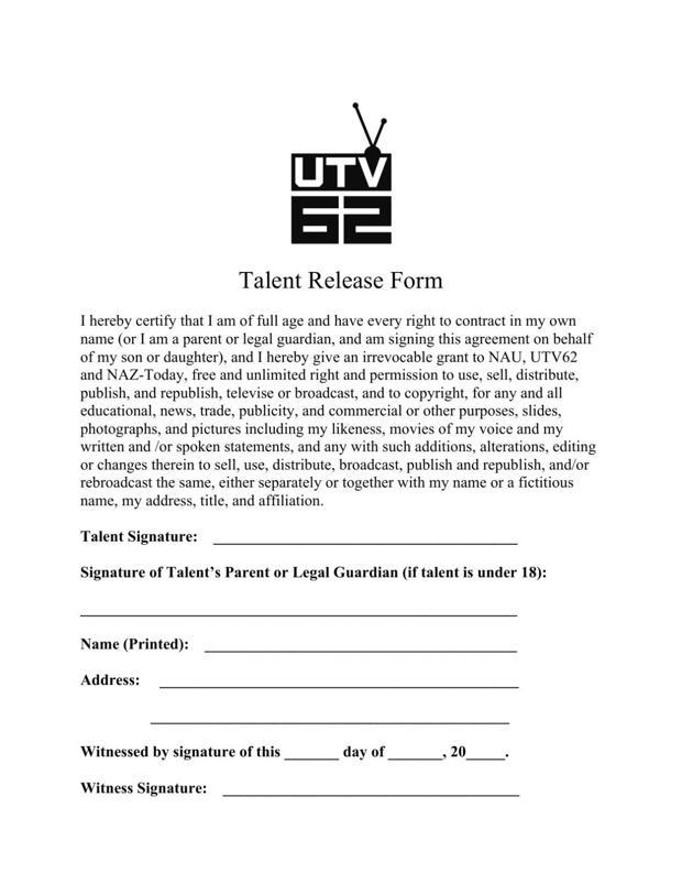 NAU Student Film Festival Talent Release Form