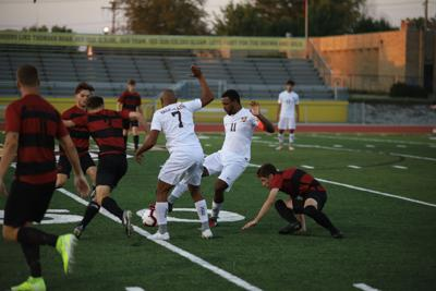 Senior Demar Rose attacks up the field for the ball