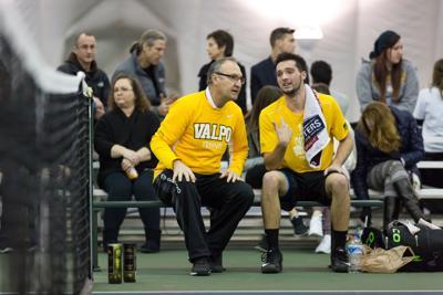 Coach Jim Daugherty with senior Jeffrey Schorsch