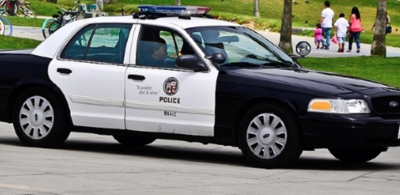 Police car boardwalk