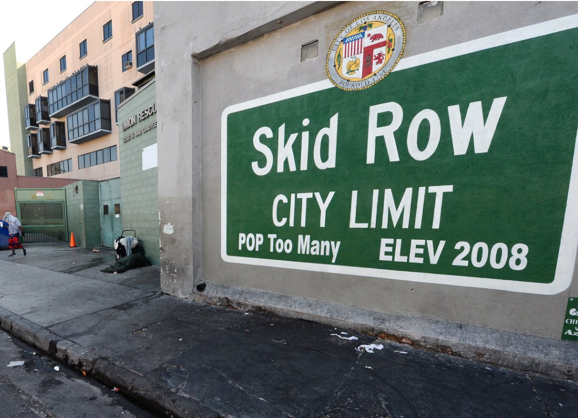 Skid Row population sign