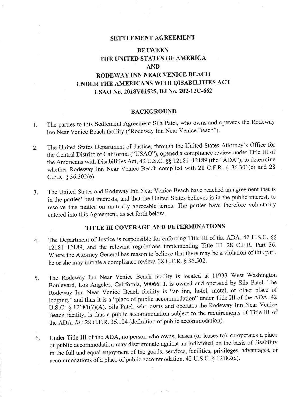 ADA settlement for Rodeway Inn