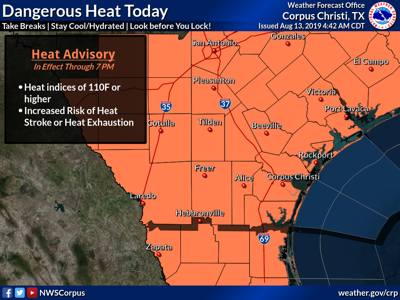 A heat advisory is in effect Tuesday for all of South Texas