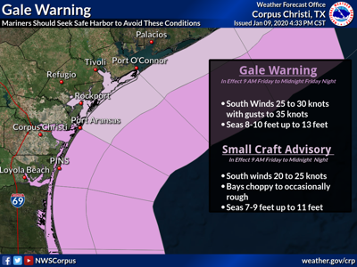 Gale wind warning expected for Friday