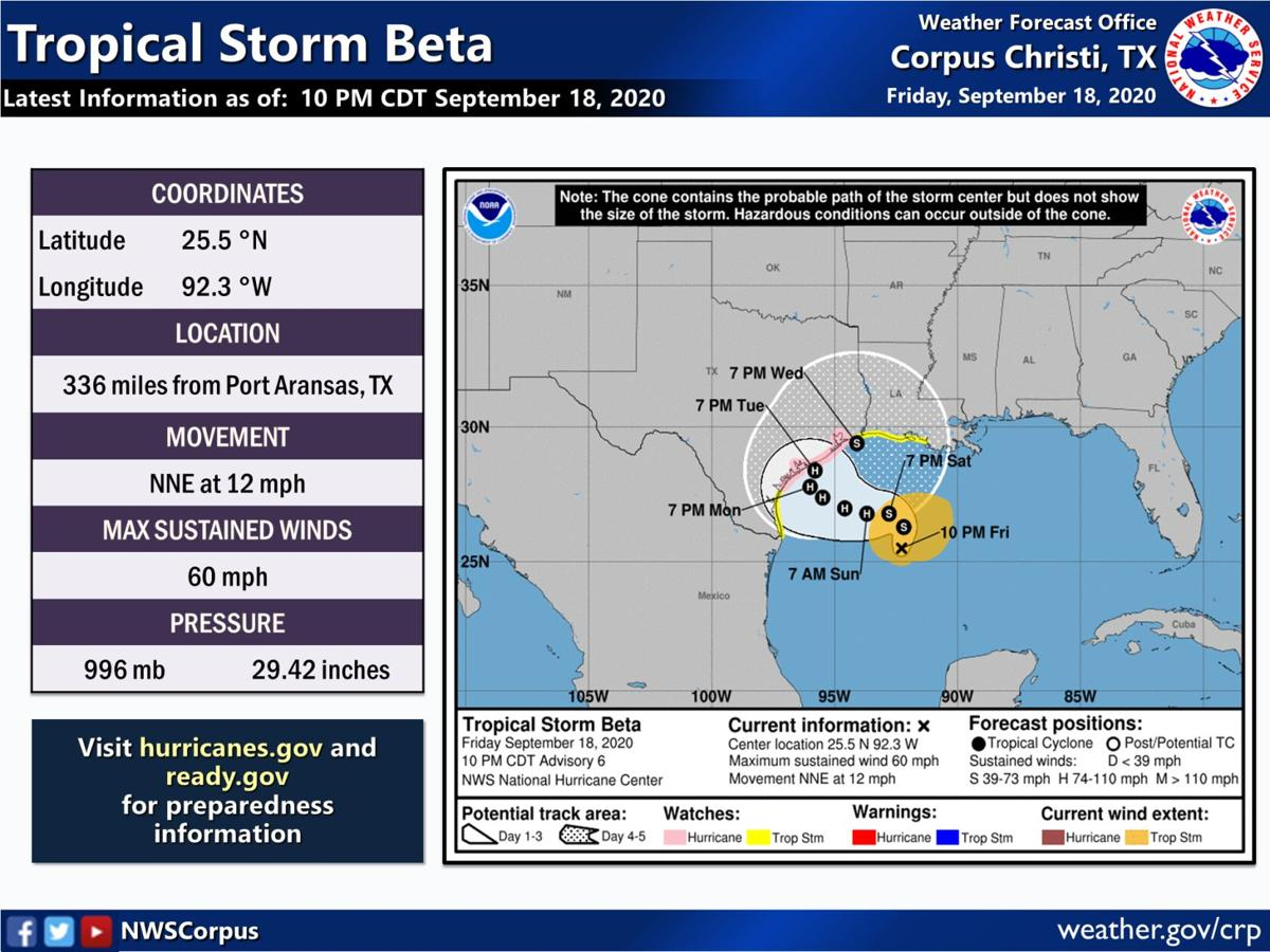 Tropical Storm Beta - 10 p.m. update