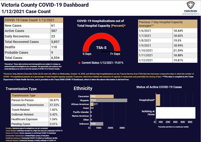 Victoria County COVID-19 demographics for Jan. 12