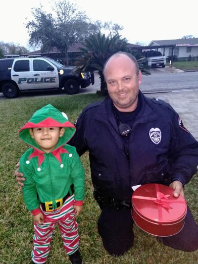 Aiden Salgado and Officer Houser