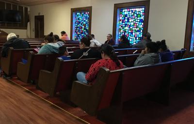 Harvey assistance program application intake session in Bloomington