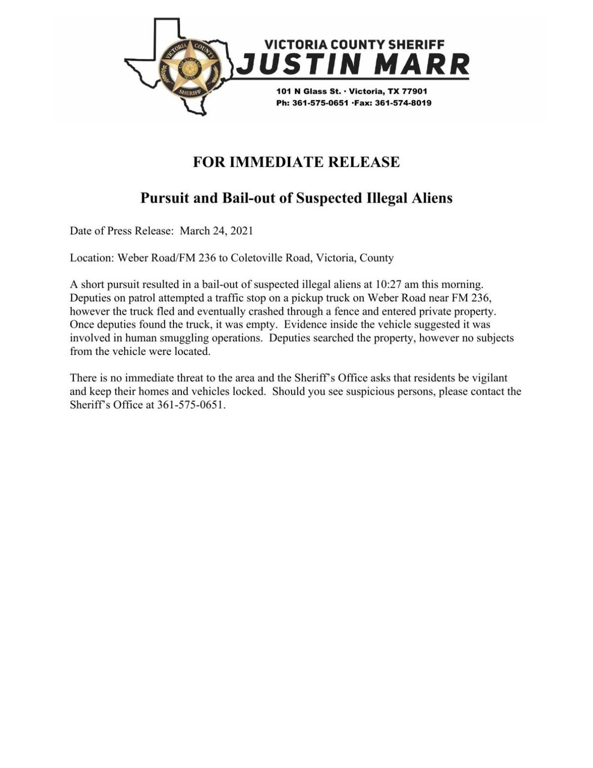 VCSO News Release