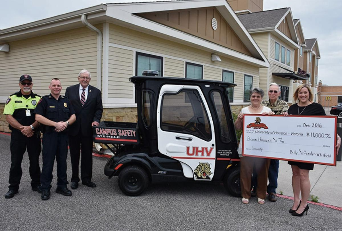 UHV security gets donation for golf cart | Education ... on old yamaha atvs security carts, security security guards for carts, campus security carts, wired security carts, bad boy carts, motorized security carts, used ez go carts, security wire shelving carts, security carts gas, sand wheels for carts, 4x4 electric hunting carts, security laundry carts,