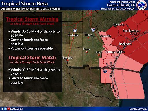 Tropical Storm Beta watches/warnings 4pm Saturday
