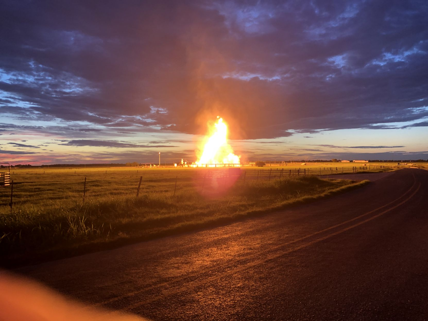 Fire was reported at a Karnes County natural gas facility