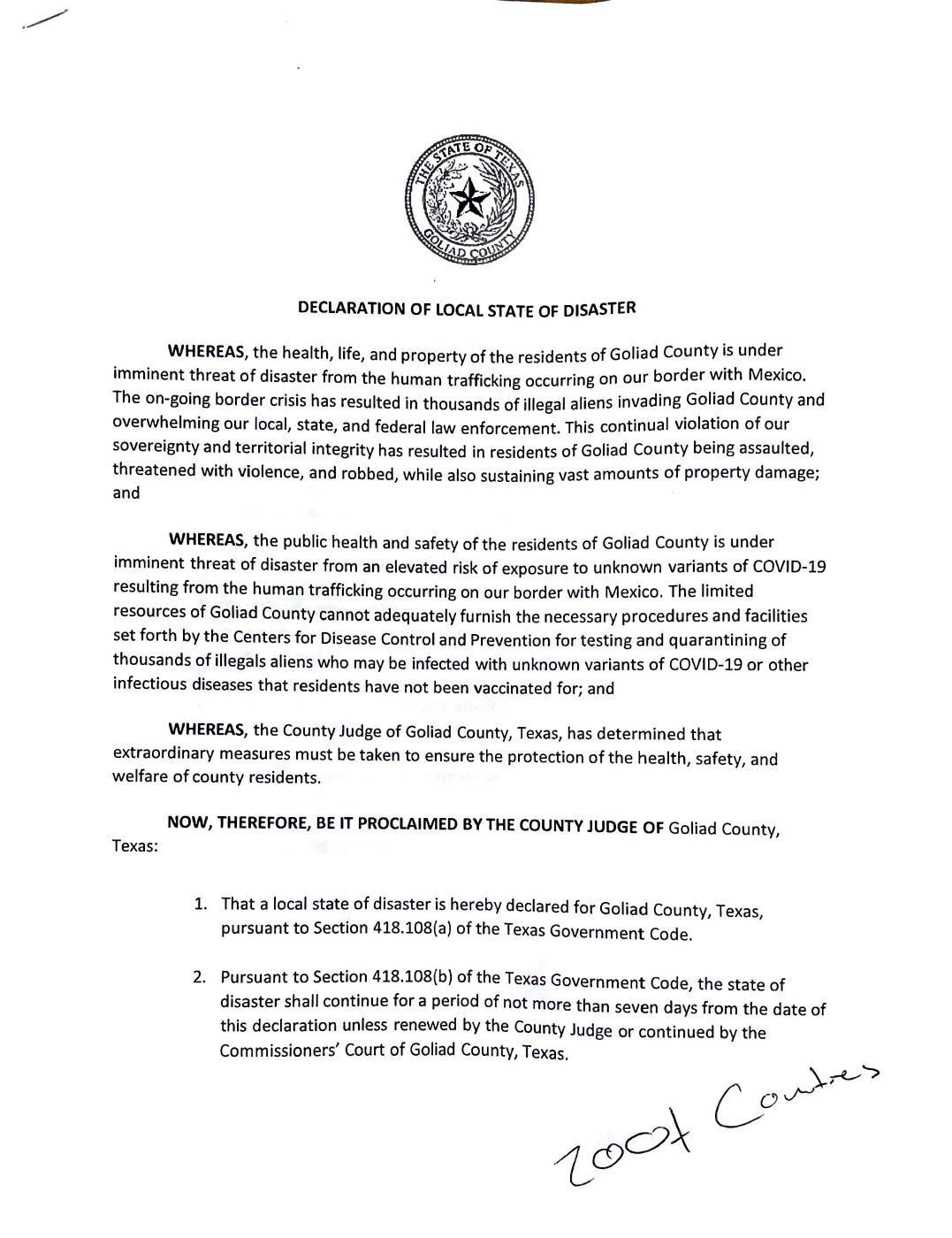 Goliad County Declaration