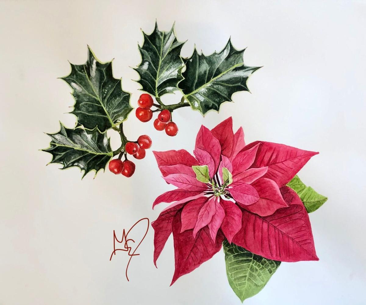 Poinsettia and holly by Gail Dentler