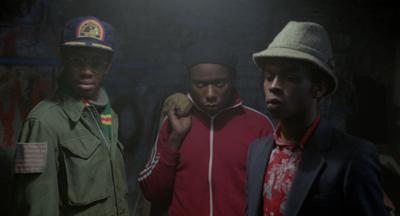 Scientist (Brian Bovell), Beefy (Trevor Laird), and Lover (Victor Romero Evans) are members of the Ital Lion Sound System in Franco Rosso's 'BABYLON'