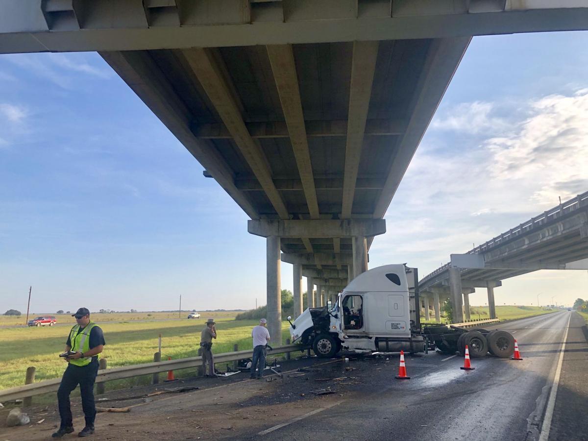 Tractor-trailer crash delays highway traffic