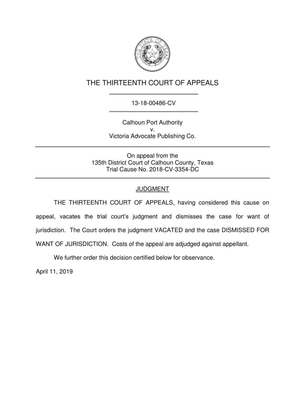 13 Court of Appeals dismisses port-newspaper lawsuit