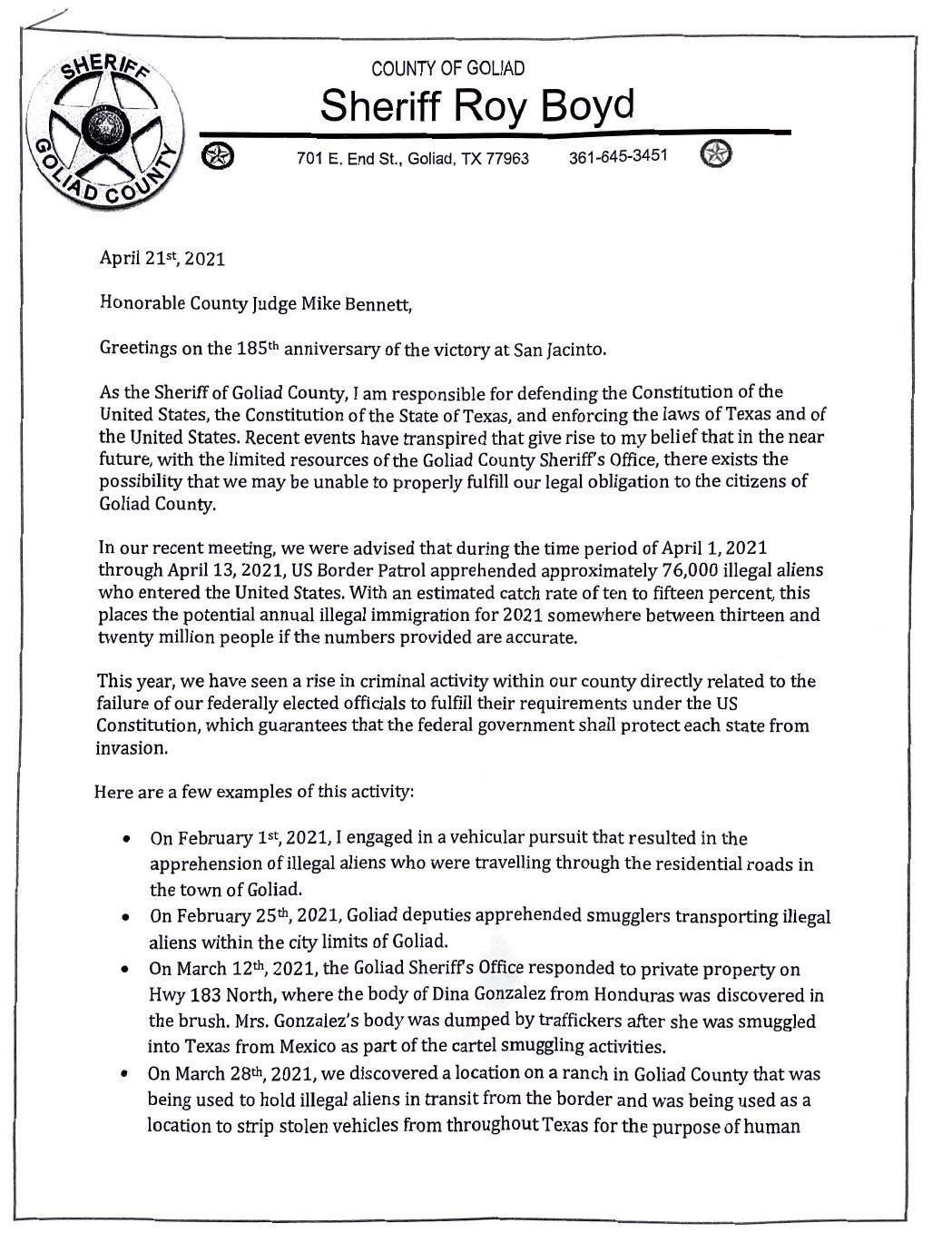 Goliad County Sheriff Letter