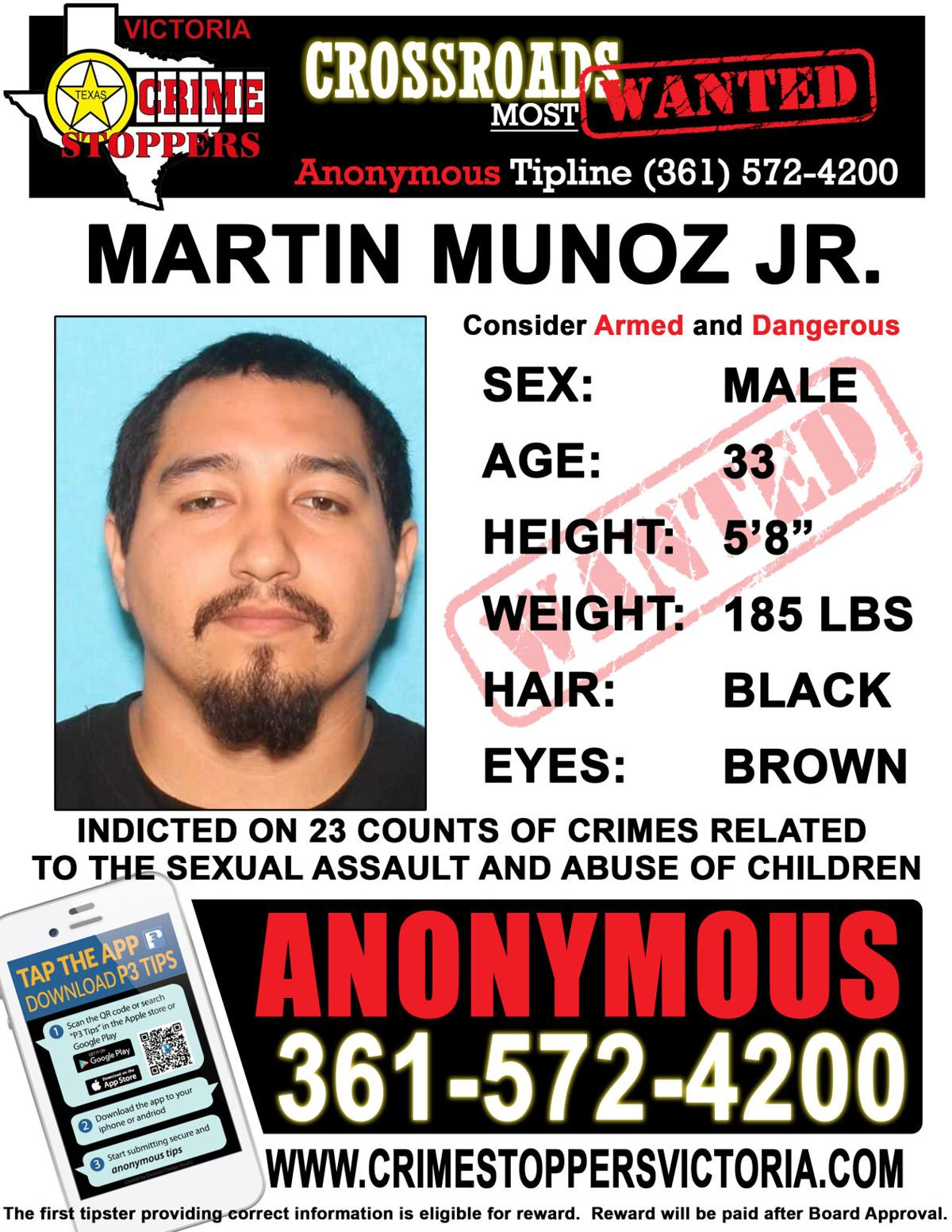 Victoria Crime Stoppers is seeking information regarding the location of Martin Munoz, Jr.