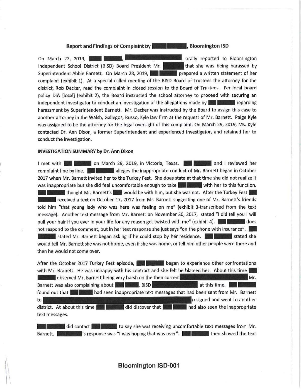 Bloomington investigation into Barnett