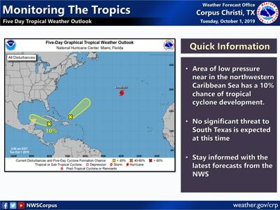 Meteorologists following Gulf low pressure band, threat to South Texas unlikely