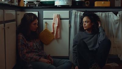 Lily James and Tessa Thompson in a scene from 'Little Woods'