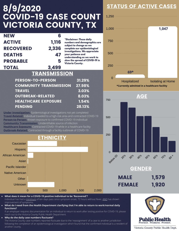 Victoria County COVID-19 demographics for Aug. 9
