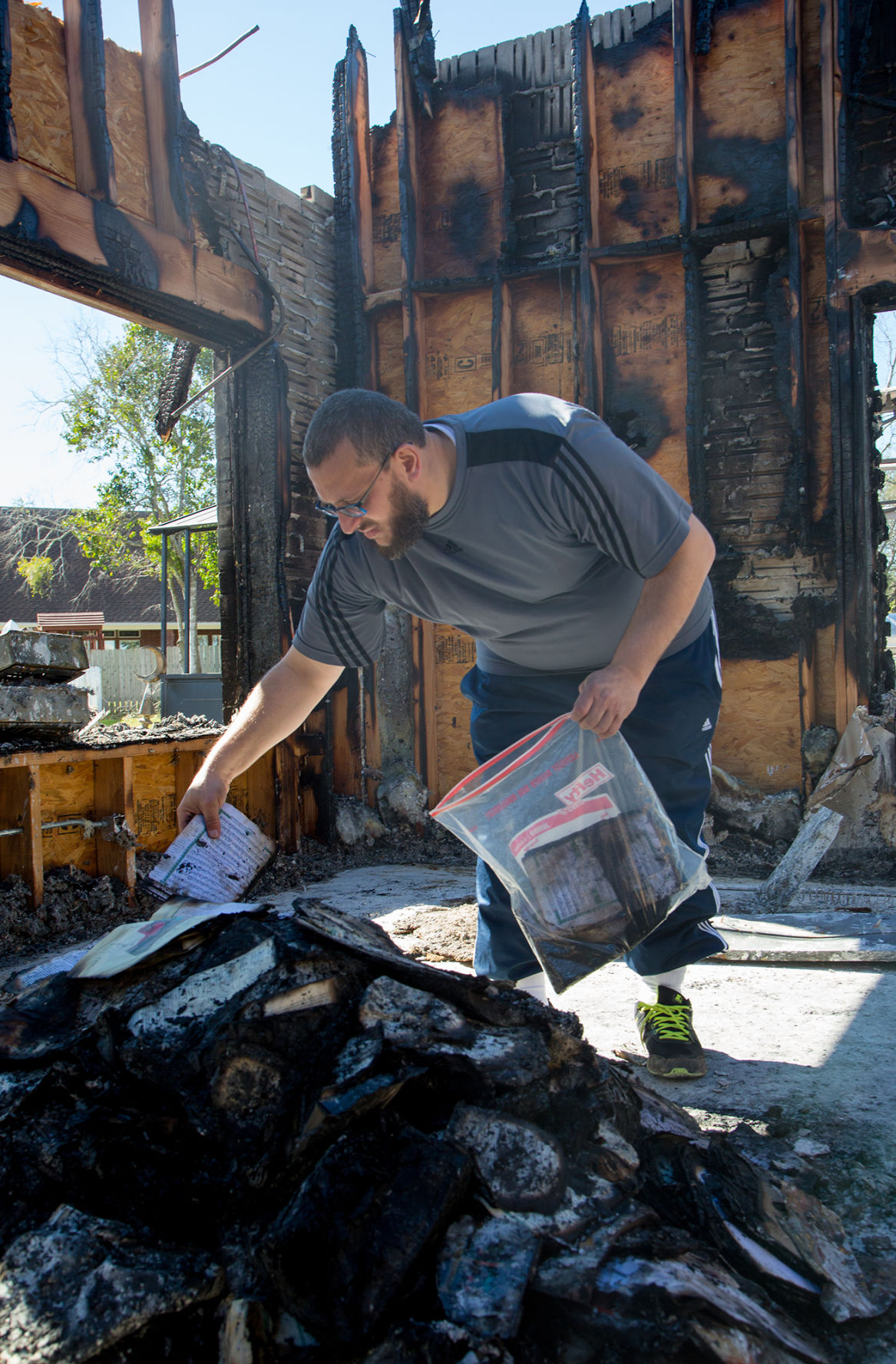 Congregation surveys mosque for first time since fire