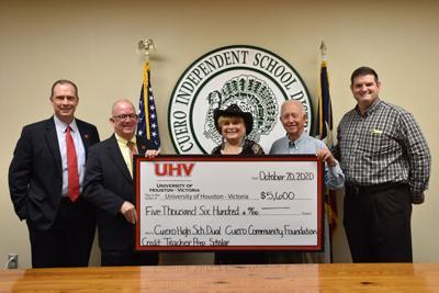 Cuero Community Foundation donates $5600 to UHV for Dual Credit Teacher Prep. Scholarship