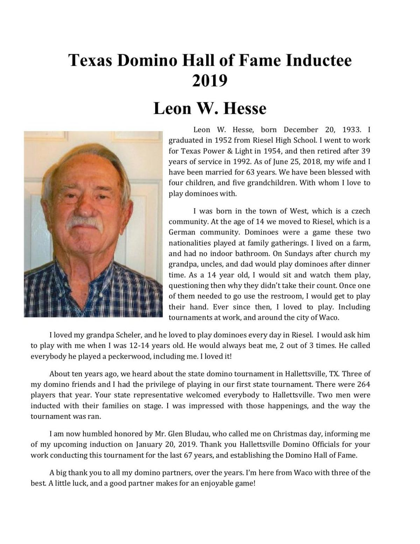 Texas Domino Hall Of Fame Inductee 2019 Leon Hesse Victoriaadvocate Com