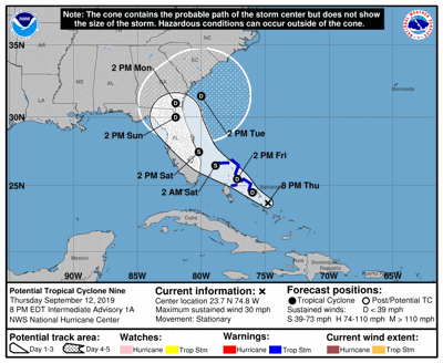 National Hurricane Center classified system in Bahamas as a potential tropical cyclone