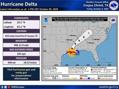 Hurricane Delta as of 4 p.m. Friday
