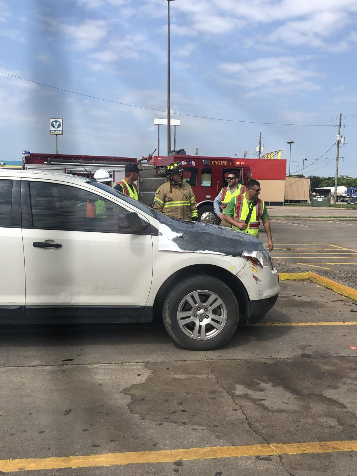 An SUV crashed into the Church's Chicken in Edna