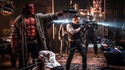 David Harbour and Daniel Dae Kim in a scene from 'Hellboy'