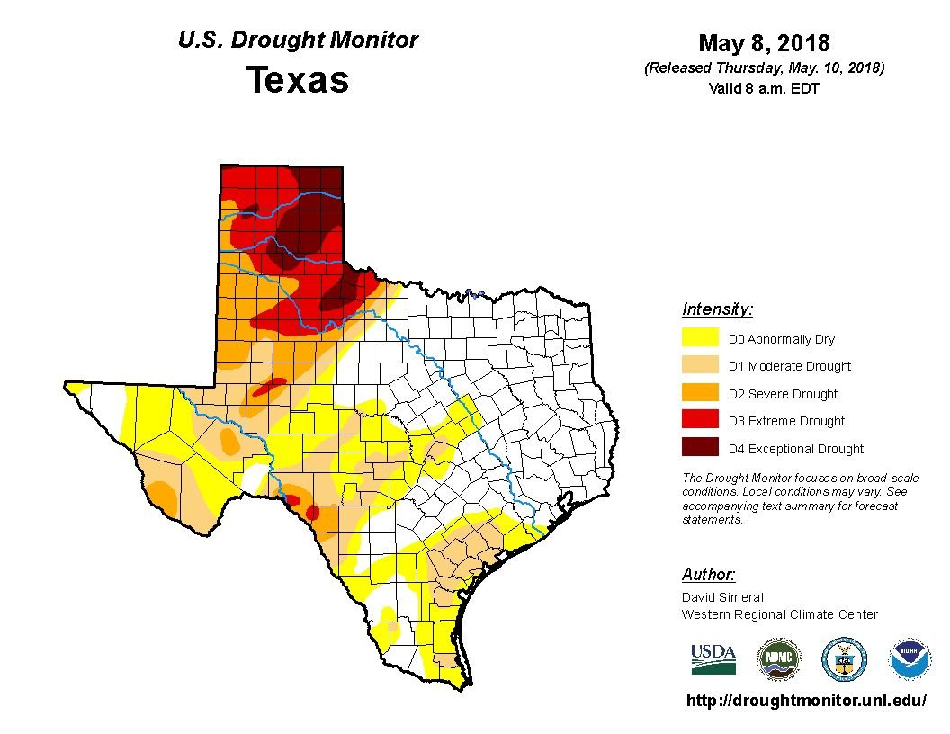 Texas Us Drought Monitor Map For May 10 2018 Victoriaadvocate Com