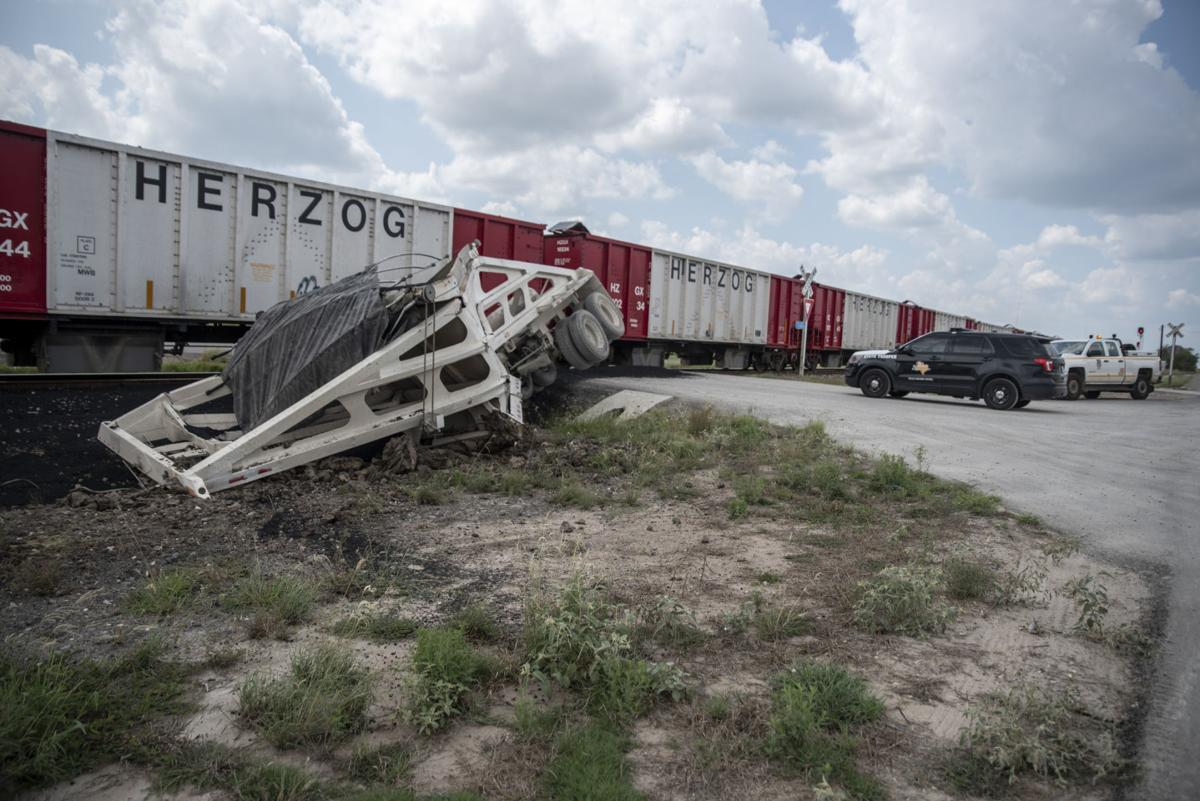 Tractor-trailer train collision