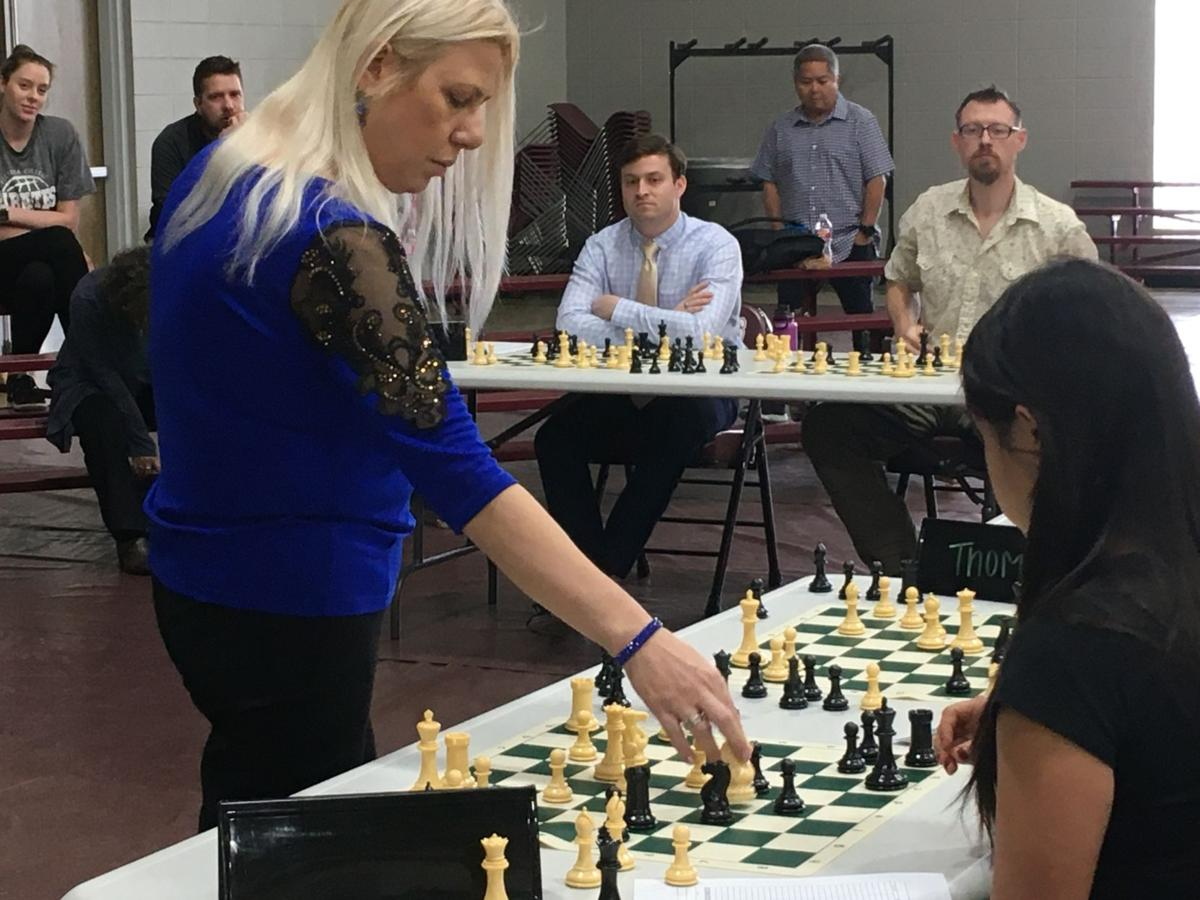 Susan Polgar plays 10 games of chess simultaneously at Victoria College.