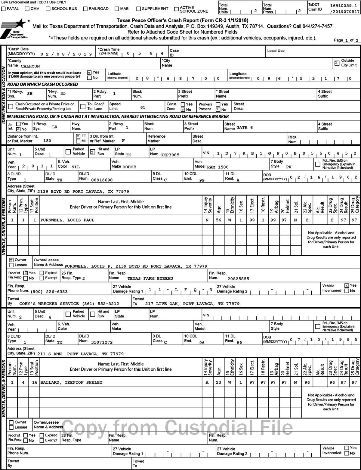 Crash report for deputy hit and run