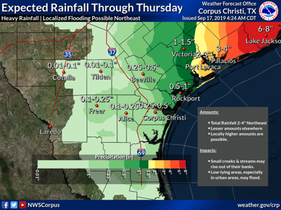 Low pressure area in Gulf could bring 2-4 inches of rain during week