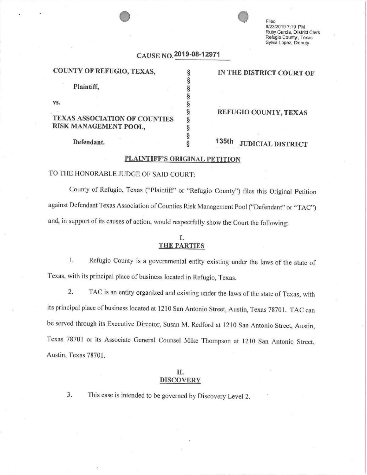 Refugio County lawsuit
