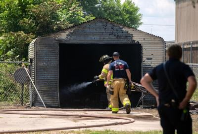 Shed catches fire