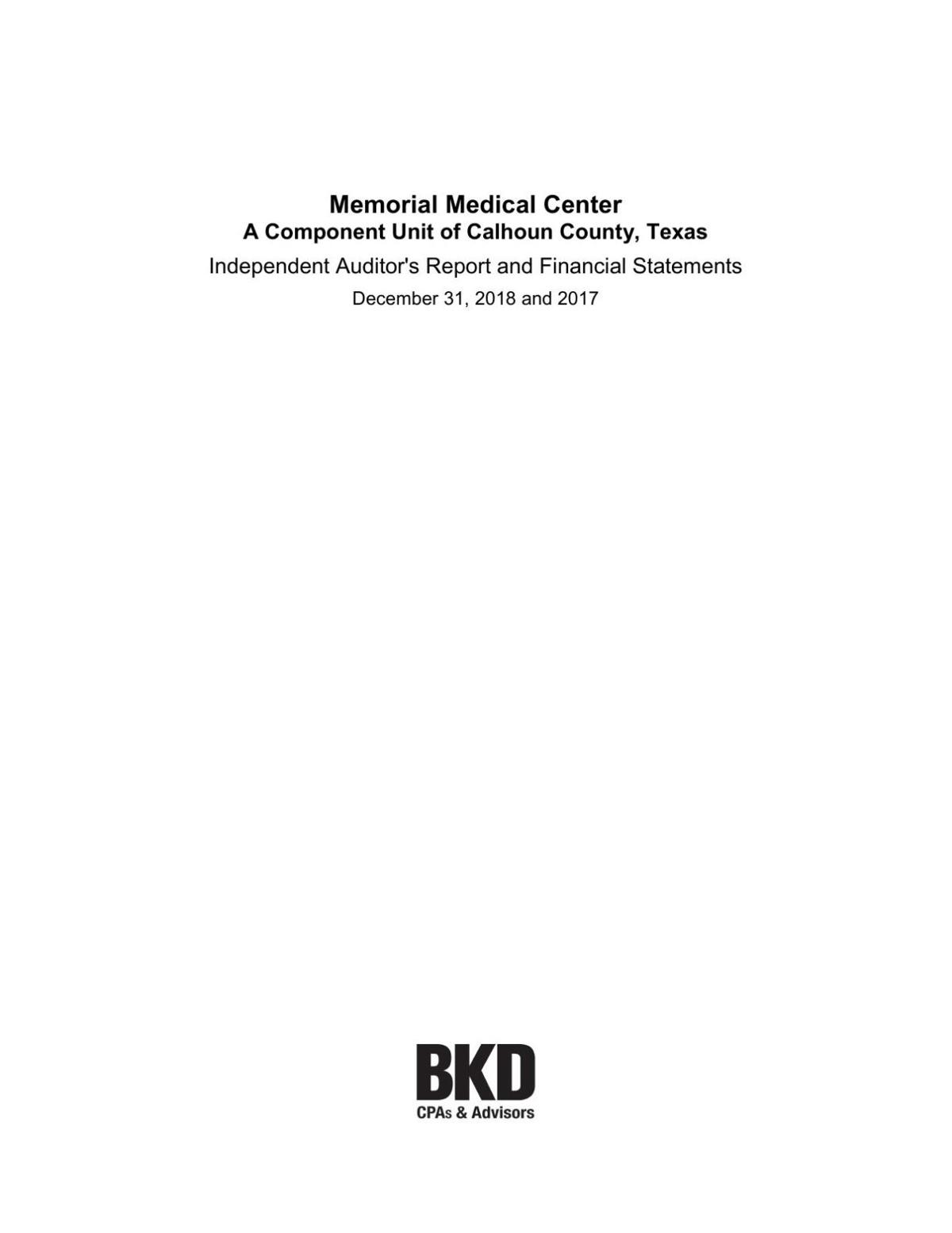 Memorial Medical Center 2018 audit