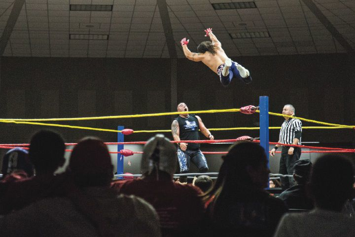 Tag-team match at live Lucha Libre event