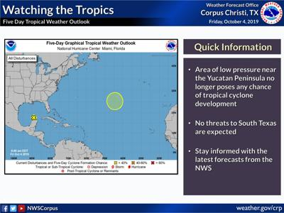 Low pressure area no longer expected to form
