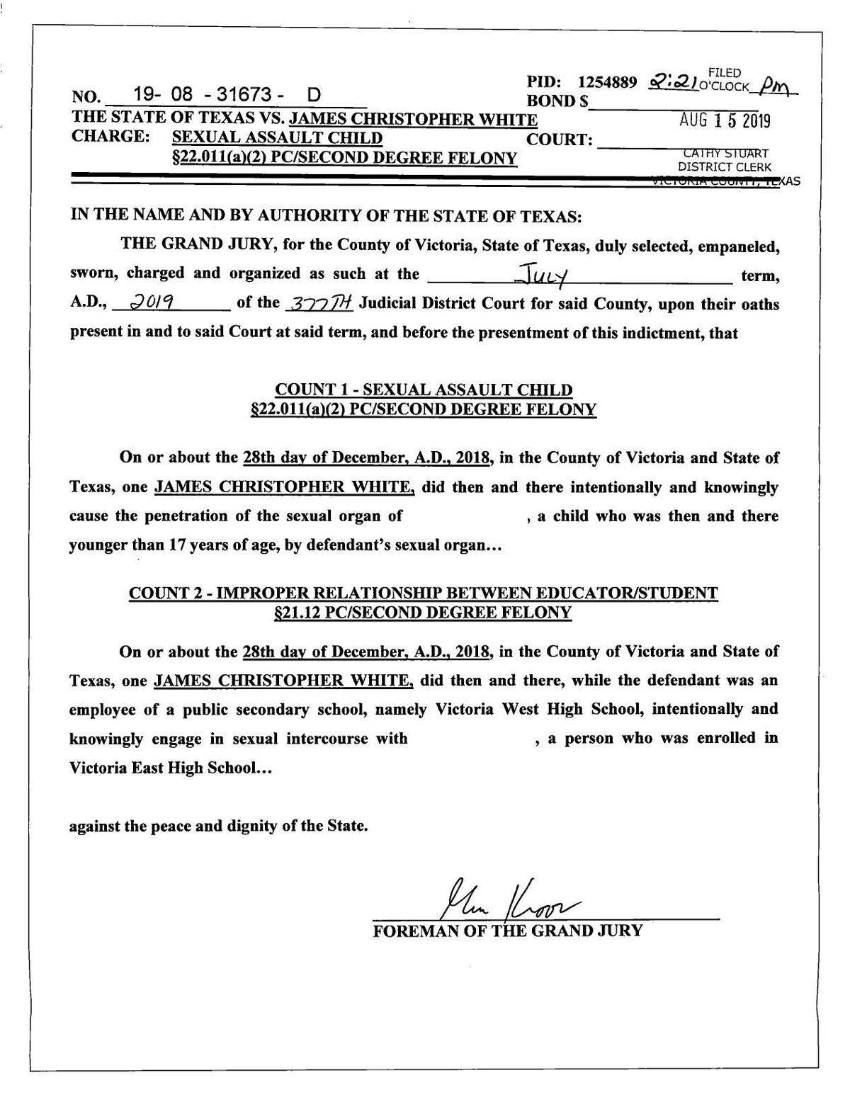 Indictment for James Christopher White