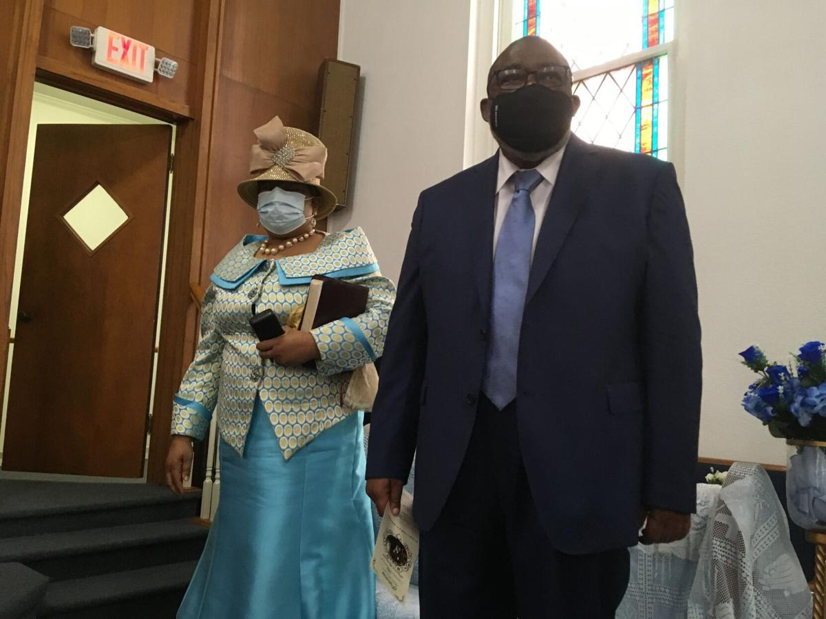 The Rev. Gregory O'Keith Wyatt and Elaine Wyatt attend a service in their honor at Palestine Missionary Baptist Church.