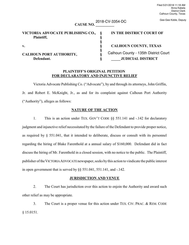 Advocate Files Lawsuit Against Calhoun Port In Farenthold Hiring