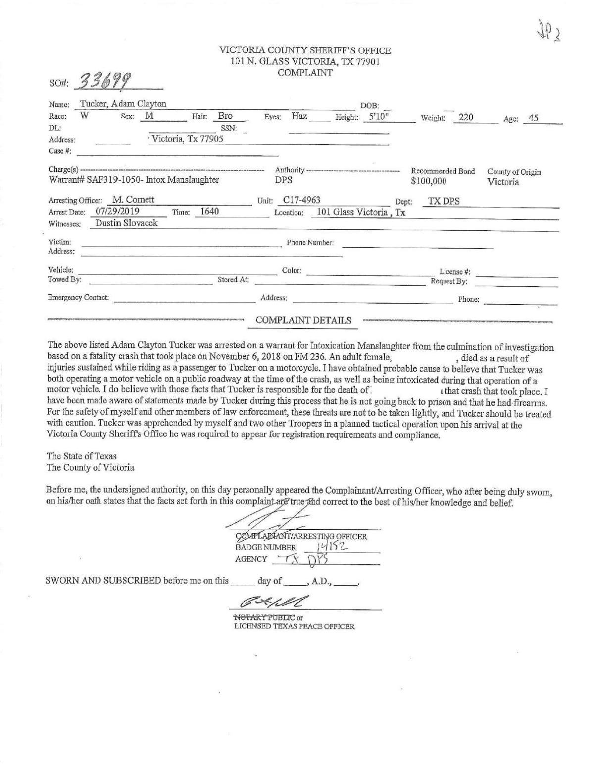 Warrant for Adam Clayton Tucker